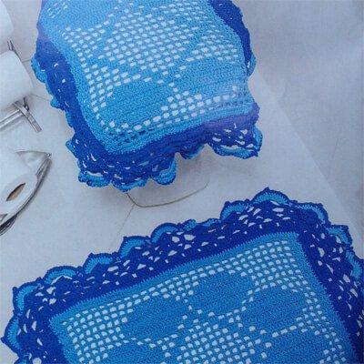 Receita Jogo de Banheiro Azul Supremo - Crochê Passo a Passo